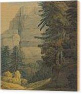 Figures Walking Near Glarus Switzerland  Wood Print