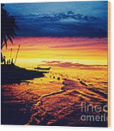 Fiji Paradise Sunset Wood Print