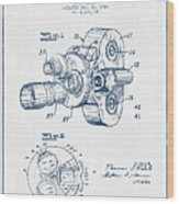 Film Camera Patent Drawing From 1938 - Blue Ink Wood Print