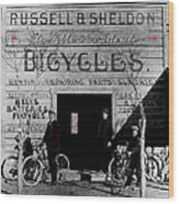 Film Homage Butch Cassidy 1969 Russell And Sheldon Bicycles C.1895 Tucson Arizona 2008 Wood Print