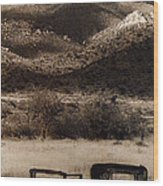 Film Homage End Of The Road 1970 Bisected Car Ghost Town Dos Cabezos Arizona 1967-2008 Wood Print