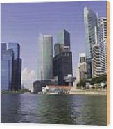 Financial District Of Singapore And View Of The Water Wood Print