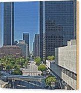 Financial District S. Flower Street Los Angeles Ca Wood Print by David Zanzinger
