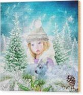 Finding Santa Wood Print by Mo T