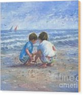 Finding Sea Shells Brother And Sister Wood Print
