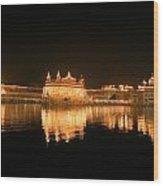 Fine Reflection At Night Wood Print
