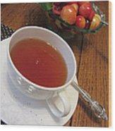Fine Tea And Cherries Wood Print