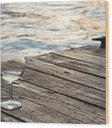Finger Lakes Wine Tasting - Wine Glass On The Dock Wood Print