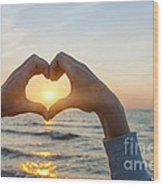 Fingers Heart Framing Ocean Sunset Wood Print