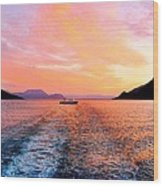 Fiord Sunset  Wood Print