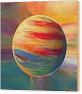 Fire And Ice Ball  Wood Print