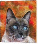Fire And Ice - Siamese Cat Painting Wood Print