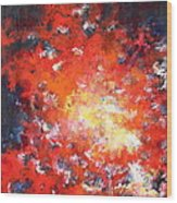 Fire Blazing In The Sky Wood Print