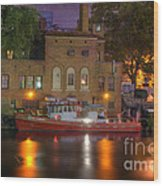 Fire Boat On Cuyahoga River Wood Print