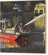 Fire Boat Wood Print