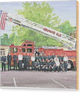 Fire Brigade Truck Watercolor Painting Wood Print