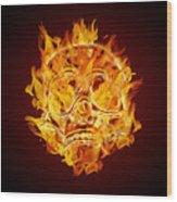 Fire Burning Flaming Skull Wood Print