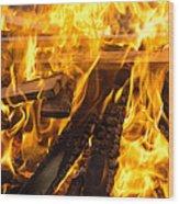 Fire - Burning Wood Wood Print