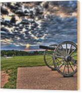 Fire Clouds Over A Gettysburg Cannon Wood Print by Andres Leon