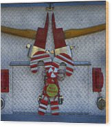 Fire Department Christmas 3 Wood Print