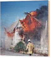 Fire Department On Scene With Flames Showing Wood Print
