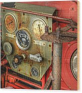Fire Department Tanker Controls Wood Print
