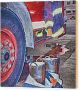 Fire Engine - Firemen - Equipment Wood Print