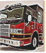 Fire Engine Red Wood Print