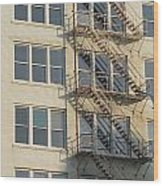 Fire Escape And Bird Wood Print