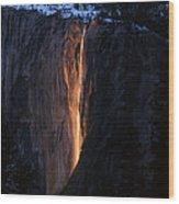Fire Falls In Yosemite  Wood Print