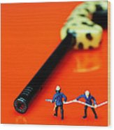 Fire Fighters And Fire Gun Little People Big Worlds Wood Print