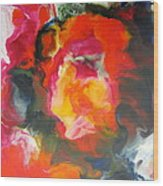 Fire Flower Abstract Wood Print
