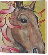 Fire Horse Wood Print