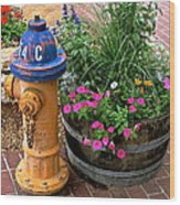 Fire Hydrant With Flowers Wood Print