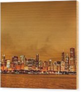 Fire In A Chicago Night Sky Wood Print