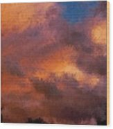 Fire In The Clouds Wood Print