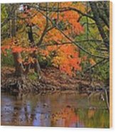 Fire In The Creek A1 - Owens Creek Near Loys Station Covered Bridge - Autumn Frederick County Md Wood Print