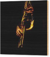 Fire In The Sax Wood Print