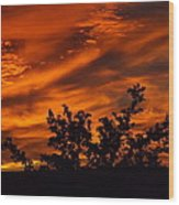 Fire In The Skies Wood Print by Rebecca Cearley