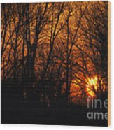 Fire In The Woods Sunset Wood Print