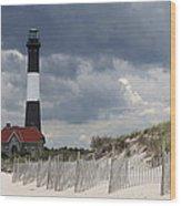 Fire Island Light From The Beach Wood Print