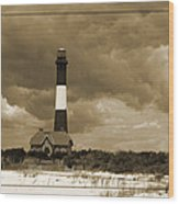Fire Island Light In Sepia Wood Print