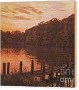 Fire On Lake Newport  Wood Print