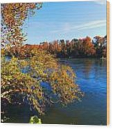 Fire On The River Wood Print