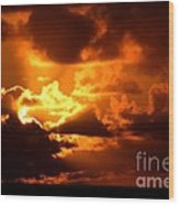 Fire Over The Ocean Wood Print