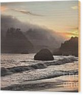 Fire Over The Sea Stacks Wood Print by Adam Jewell