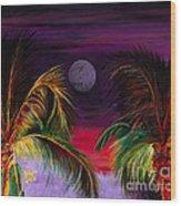 Fire Palms II Wood Print