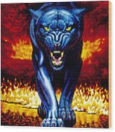 Fire Panther Wood Print