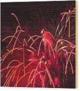 Fire Red Orange Fireworks Galveston Wood Print by Jason Brow