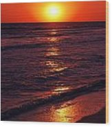 Fire Red Sunset Wood Print